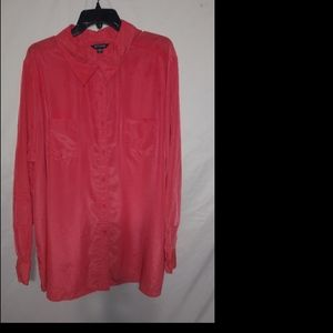 George Red Long Collared Pocketed Top 3X Plus